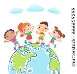globe kids. children earth day. ... | Shutterstock .eps vector #666659299