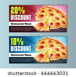 pizza discount coupon template  ... | Shutterstock .eps vector #666663031