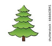 cartoon pine tree natural plant ... | Shutterstock .eps vector #666663841