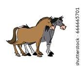 horse domestic animal farming... | Shutterstock .eps vector #666665701