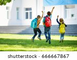 children with rucksacks jumping ... | Shutterstock . vector #666667867