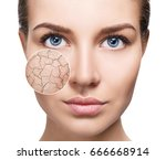 zoom circle shows facial skin... | Shutterstock . vector #666668914