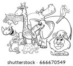 black and white cartoon vector... | Shutterstock .eps vector #666670549