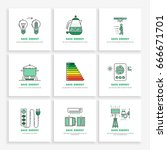 vector posters save energy... | Shutterstock .eps vector #666671701