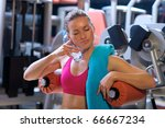attractive woman cooling... | Shutterstock . vector #66667234