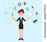 business woman. female manager... | Shutterstock .eps vector #666673315