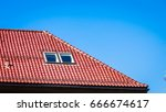 minimalist shot of roof with... | Shutterstock . vector #666674617