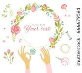 girl makes a wreath. women's... | Shutterstock .eps vector #666679561