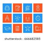 school  education icons  linear ... | Shutterstock .eps vector #666682585