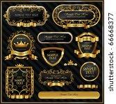 vintage vector black gold frame ... | Shutterstock .eps vector #66668377