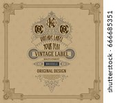 old vintage card with floral...   Shutterstock .eps vector #666685351