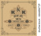 old vintage card with floral...   Shutterstock .eps vector #666686719