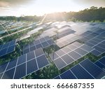 aerial view of solar panels ... | Shutterstock . vector #666687355