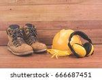 standard construction safety... | Shutterstock . vector #666687451