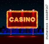 casino text banner signboard on ... | Shutterstock .eps vector #666689167