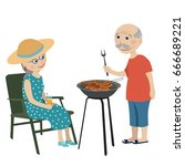 happy grandparents on a rest .... | Shutterstock .eps vector #666689221