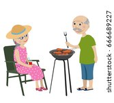 happy grandparents on a rest .... | Shutterstock .eps vector #666689227