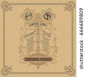 old vintage card with floral...   Shutterstock .eps vector #666689809