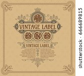 old vintage card with floral...   Shutterstock .eps vector #666689815