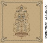 old vintage card with floral... | Shutterstock .eps vector #666689827