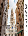Small photo of Street view on the cit hall tower on the Grand place central square in the old town of Brussels in Belgium
