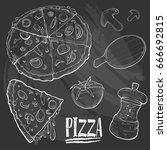 chalk drawing vector set of...   Shutterstock .eps vector #666692815
