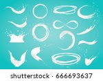 set of milk splashes  isolated... | Shutterstock . vector #666693637