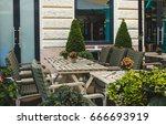 traditional street cafe ... | Shutterstock . vector #666693919