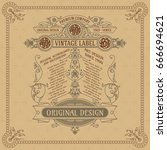 old vintage card with floral...   Shutterstock .eps vector #666694621