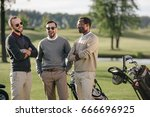 happy multiethnic golfers... | Shutterstock . vector #666696925