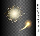 festive fireworks in various... | Shutterstock .eps vector #666698179