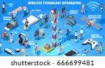 isometric infographic wireless... | Shutterstock .eps vector #666699481