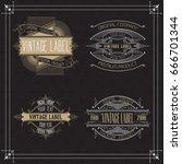 vintage typographic label... | Shutterstock .eps vector #666701344