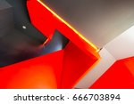 staircase painted in red.... | Shutterstock . vector #666703894