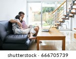 young couple relaxing and...   Shutterstock . vector #666705739