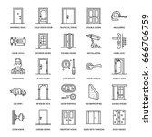 doors installation  repair line ... | Shutterstock .eps vector #666706759