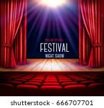 a theater stage with a red... | Shutterstock .eps vector #666707701