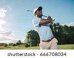 smiling african american man in ... | Shutterstock . vector #666708034
