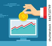 digital currency bitcoin  ... | Shutterstock .eps vector #666710749