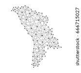 map of moldova from polygonal... | Shutterstock . vector #666715027