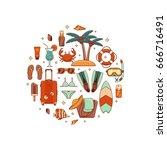 summer vacation beach icon...   Shutterstock .eps vector #666716491