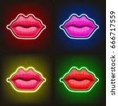 light sign of neon lips. women... | Shutterstock .eps vector #666717559