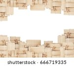 pile of parcel boxes  isolated... | Shutterstock . vector #666719335