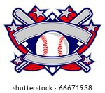 A dynamic baseball template featuring stars, banners and crossed bats.