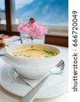 chanterelles mushroom soup    Shutterstock . vector #666720049