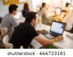 abstract blur people lecture in ... | Shutterstock . vector #666723181
