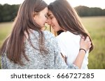 best friends enfold each other... | Shutterstock . vector #666727285
