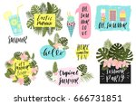 summer lettering set with cute... | Shutterstock .eps vector #666731851