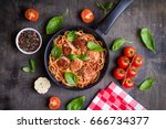 spaghetti with meatballs ... | Shutterstock . vector #666734377