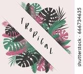 summer banner with paper... | Shutterstock .eps vector #666734635